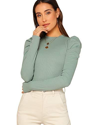 DIDK Damen Strickshirt Langarmshirt Elegant Tops Pullover T-Shirt mit Puffärmeln Shirts Oberteile Einfarbig Pulli Casual Tunika Basic Top Hellgrün S