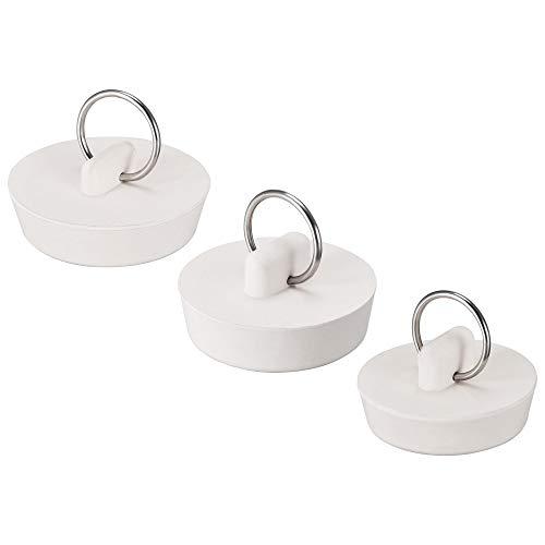 uxcell Tapón de drenaje, 3 tamaños, tapón de goma de 36,5 mm/38 mm/40 mm con anillo para colgar para bañera, cocina y baño, 1 juego (3 piezas)