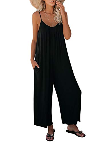 Dokotoo Women's Loose Black Jumpsuits for Women Adjustable Spaghetti Strap Stretchy Wide Leg Solid One Piece Sleeveless Long Pant Romper Jumpsuit with Pockets Medium