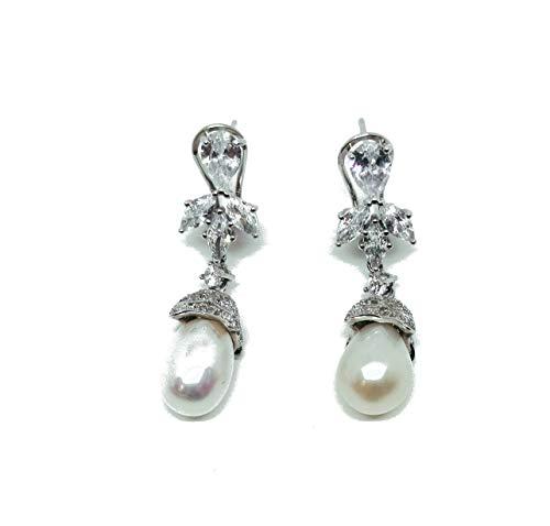 Pendientes de plata 925 fantasía circonitas y perla auténtica, cierre omega (AMFO0277)