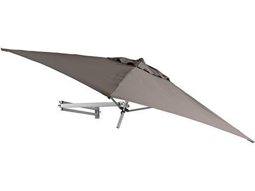 Easysol Parasol Mural Carré Taupe 200x200cm Déporté Inclinable avec Support Mural et Cadre Alu