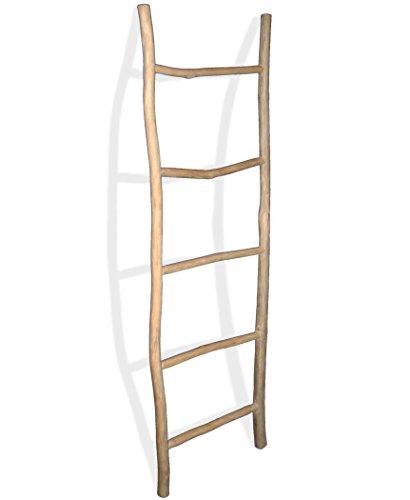 LioLiving®, Teak Handtuchhalter 150 x 49 x 5 cm (L x B x T) Dekoleiter Kleiderständer Handtuchleiter Garderobe natur (#400186)