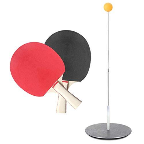 BBGSFDC Tabla de Dispositivos de Entrenamiento de Tenis de Carbono de Fibra Flexible de pozos y arquetas Ping-Pong Bolas paletas Conjunto de Entrenamiento con 2 Tabla de Pádel
