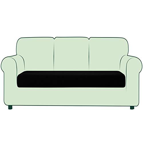CHUN YI 1 Stück Sofa Sitzkissenbezug Stretch Sitzkissenschutz Elastischer Husse Überzug für Sofa Sitzkissen rutschfest Stoff Möbelschutz(3-Sitzer, Schwarz)