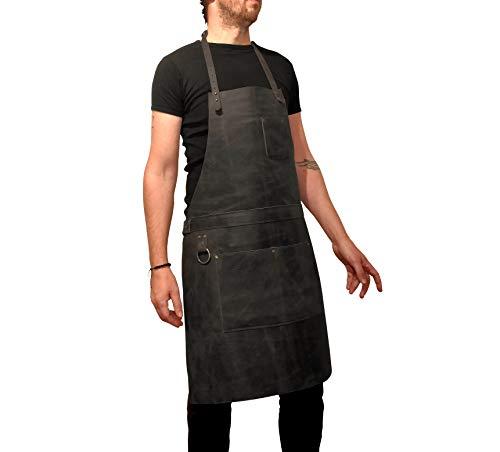 ONE LEAF Leather Work Apron (Chef, Butcher, Metalworker, Carpenter) - Tirel Deluxe (Brass Hardware)