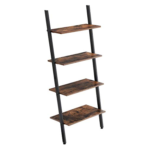Find Cheap Industrial Ladder Shelf, 4-Tier Bookshelf, Storage Rack Shelves, for Living Room, Kitchen...