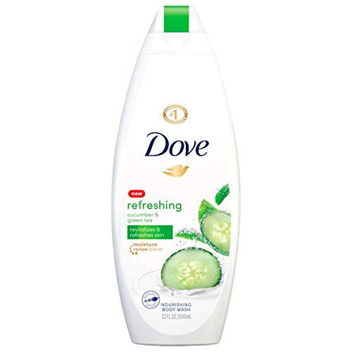 Dove Refreshing Body Wash Revitalizes and Refreshes Skin Cucumber and Green Tea Effectively Washes Away Bacteria While Nourishing Your Skin, 22 oz