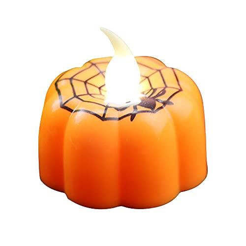 Warmdeco Calabaza de Halloween Luz de Vela Suministros para Fiestas Lámpara de Linterna Adornos Accesorios Luces LED Decoraciones de iluminación para el hogar Calabaza de telara?a Naranja