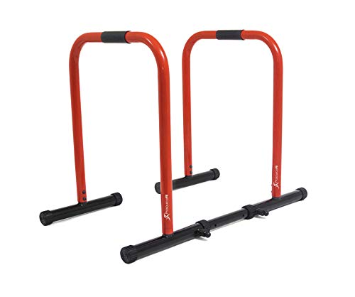 ProsourceFit Dip Stand Station, Heavy Duty Ultimate Body Press Bar with Safety Connector for Tricep Dips, Pull-Ups, Push-Ups, L-Sits, Red