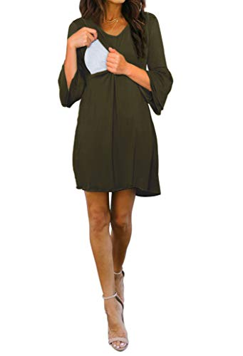 Smallshow Women's Maternity Nursing Dress Bell Sleeve Breastfeeding Shift Dress Army Green Medium