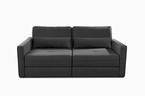 CAVADORE Schlafcouch Ivar / 2er-Sofa im Skandi-Design inkl. großem Ausziehbett mit Lattenrost / 190 x 88 x 112 / Strukturstoff, Dunkelgrau