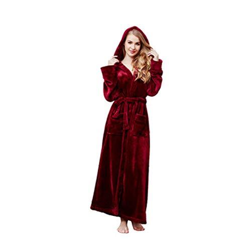 Susenstone Peignoir Femme Polaire Sexy Hiver Chaud Pyjama Flanelle Chic Robe De Chambre Longue Kimono Femme Nuit Pas Cher VêTements De Nuit (M, Vin)