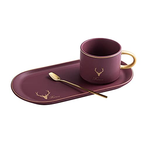 1 ORDENADOR PERSONAL Cerámica de oro lujosos retro Cerámica de café y platillos Cuchara fijada con el té actual del té del desayuno de la leche de la soja tazas de la placa de postre ( Color : Rojo )