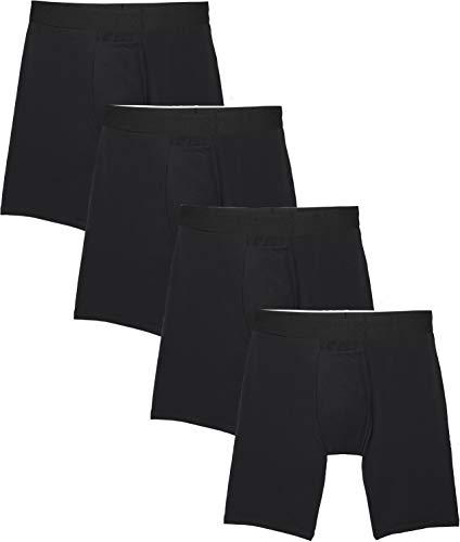 Tommy John Men's Cotton Basics Boxer Brief - 4 Pack - Comfortable Lightweight Soft Underwear for Men (Black, Medium)