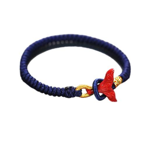 Pulseras, pulsera de riqueza, con Zhu Saimi, decoración de cola de delfín, cuerda tejida a mano, unisex