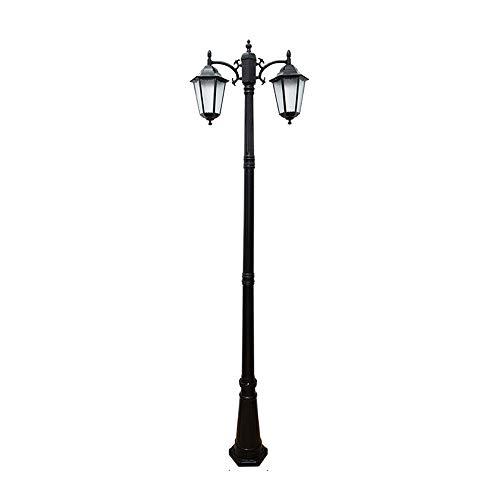 Außen/Aussen-leuchte Kandelaber in antikem Look, Aluguß in Schwarz matt mit Milchglas-Scheiben, 2-Flammig Wegeleuchte 250cm, Retro/Vintage Gartenlampe, E27/ je max. 60 Watt, IP44