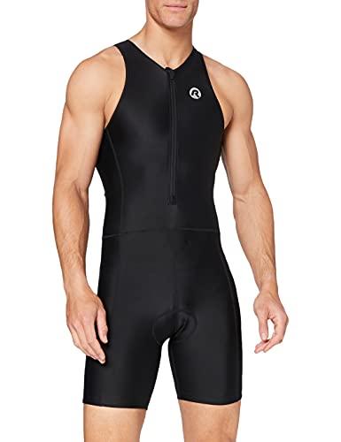Rogelli - Tuta Intera Corta da Uomo per Triathlon, Colore: Nero, Nero (Nero), L