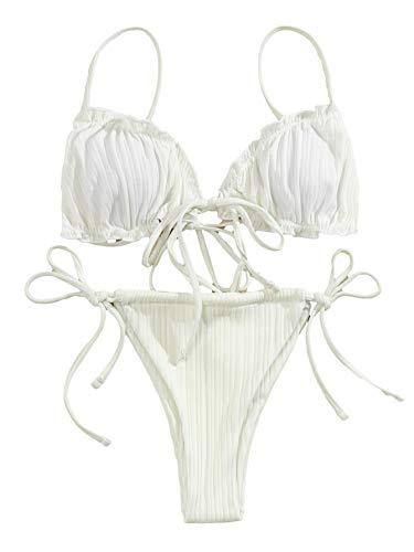Lilosy Sexy gerippter gepolsterter String Tanga brasilianischer Bikini Badeanzug Set für Frauen Seitliche Krawatte Knoten Badeanzug 2-teilig - Weiß - Small