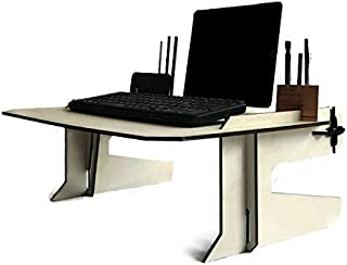 Wooden bed desk with organizer and smartphone and tablet stand in many colors as black Made of poplar plywood Lapdesk design by italian designer Laser cut wood and handmade in Italy