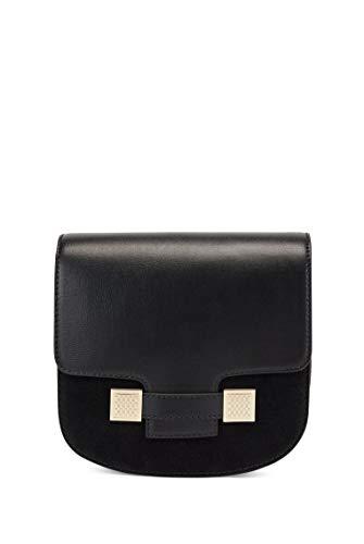 BOSS Damen Carine Should Bag-M Satteltasche aus Leder und Veloursleder mit Monogramm-Details