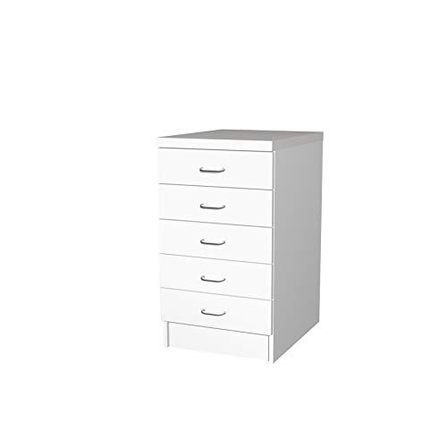 Flex-Well Küchenschrank BOCHUM | Schubladen-Unterschrank | 5 Schubladen | Breite 50 cm | Weiß