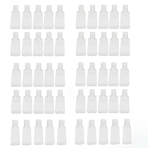 50 piezas 30 ml Botellas desinfectantes para manos Botella de mano Dispensador de champú Botellas vacías portátiles Botellas transparentes recargables con tapa abatible Botellas de viaje recargables