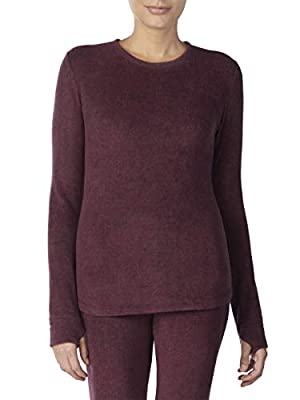Cuddl Duds ClimateRight Women's Stretch Fleece Warm Underwear Long Sleeve Top (S - Berry)
