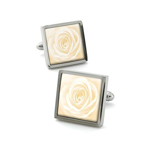 Robert Charles. Boutons de Manchette. Fleur de Rose, Acier rhodié. Blanc, Motifs.