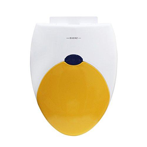 """Exerz PP-052 18"""" Familien-WC-Sitz mit eingebautem Kindersitz Töpfchen für Kinder Erwachsene/Toilettensitz/stabile Scharniere/leicht zu montieren/Badezimmer Waschraum WC (Gelb)"""