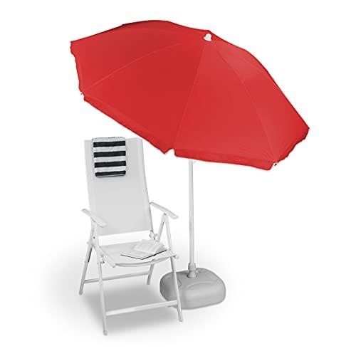 Relaxdays Sonnenschirm, Ø 180 cm, höhenverstellbar, kippbar, Balkonschirm, rund, Polyester, Stahl, Strandschirm, rot