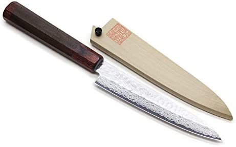 Yoshihiro NSW 46 Layers Hammered Damascus Steel Japanese Petty Utility Knife 6 In Rosewood with Natural wood Saya Cover