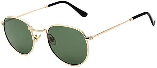 Dakecy Gafas de Sol con Espejo para Mujer, Gafas de protección UV, Gafas Redondas, Gafas de Moda para Exteriores, Gafas de protección UV400, Montura cómoda (Color : Gold-Green)