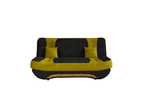 MOEBLO Sofa mit Schlaffunktion und Bettkasten, Couch für Wohnzimmer, Schlafsofa Federkern Sofagarnitur Polstersofa Wohnlandschaft mit Bettfunktion - Feba (Schwarz+Gelb (Soro 100+Soro 40))