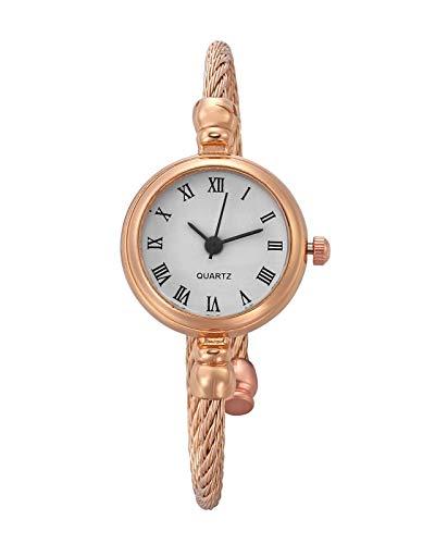 JSDDE Uhren Damen Armbanduhr Chic Manschette Damenuhr Spangenuhr Römische Ziffern Armreifen Quarzuhr Kleideruhr für Frauen Rosegold-Weiß