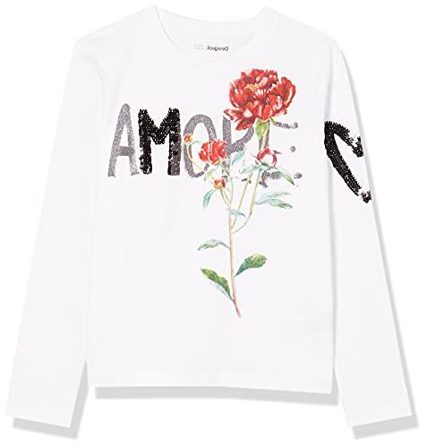 Desigual TS_Flor Camiseta, Blanco, 11-12 Años para Niñas