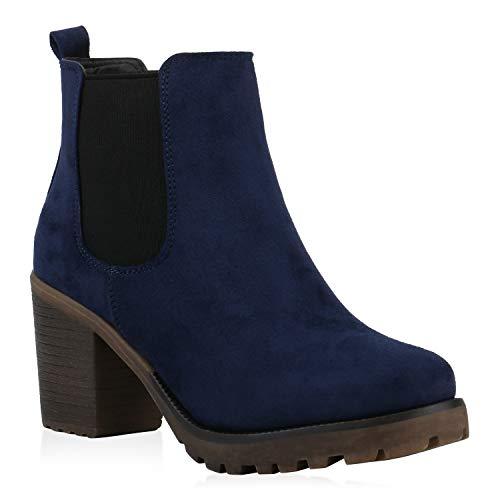 stiefelparadies Damen Stiefeletten Chelsea Boots Wildleder-Optik Schuhe High Heel Kurzschaft-Stiefel Booties 105431 Dunkelblau 40 Flandell