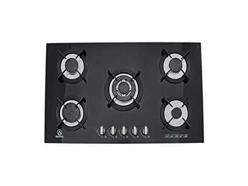 Supra 5Q-EC-N Parrilla de Empotrar 5 Quemadores en Cristal Templado, color Negro
