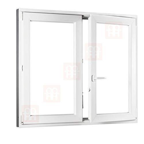 Kunststofffenster | 150x120 cm (1500x1200 mm) | weiß | Zweiflügelige ohne Pfosten | rechts
