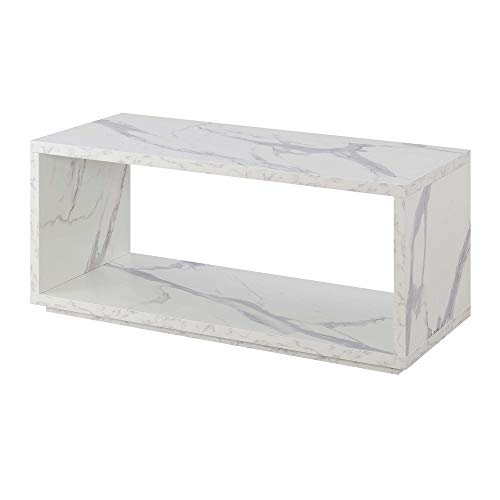 Convenience Concepts Northfield Admiral Coffee Table, Faux White Marble