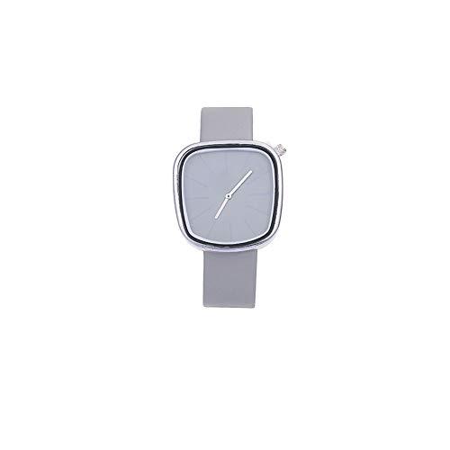 TrifyCore Männer Einfache Uhr Analog Quarz-Quadrat-Vorwahlknopf-Uhr mit Lederarmband Art und Weise Armbanduhr eingebaute Batterie A5-03
