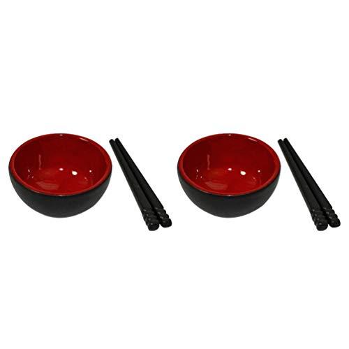 TOYANDONA Mini Casa Cocina Juguete Tazón Palillos Set Vajilla Muñeca para Adultos Los Niños Pretenden Jugar Cocina Juego de Cocina Fiesta de Cumpleaños Presente Rojo