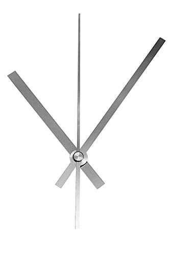 JH1668 Quarz-Uhrwerk nach Wahl mit Zeiger Metall kurz oder lang Lautlos geräuschlos 120 mm Silber #50 (Silber, D: Ziffernblattdicke 2-7 mm ohne Aaufhänger)