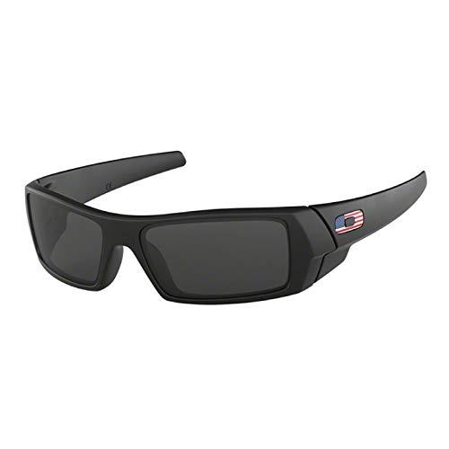 Oakley Gascan OO9014 Sunglasses for Men+BUNDLE with Oakley Leash Kit + Designer iWear Mirror(Matte Black/Grey/USA Icon, 61)