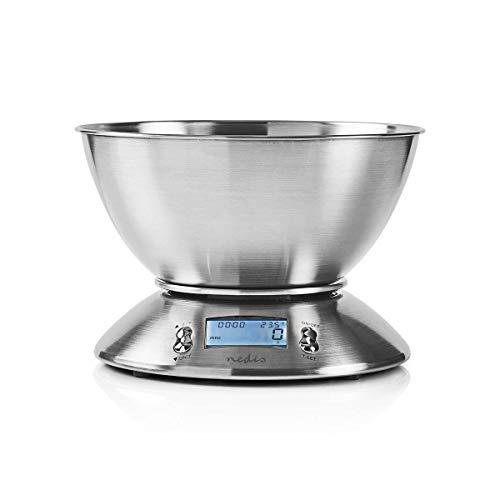 NEDIS - Digitale Küchenwaage - Beleuchtetes LCD - Temperatursensor - Alarm-Timer - Herausnehmbare Schüssel - Bis 5 Kilogramm - 2X AAA Batterien Silber