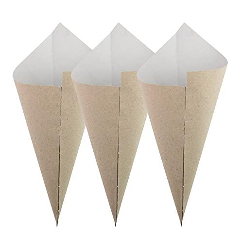 Extiff - Lote de 100 cuencos de cartón reciclado para cirumbres calientes o frutos secos o frescos, 100% reciclable (cornet 21 x 29)