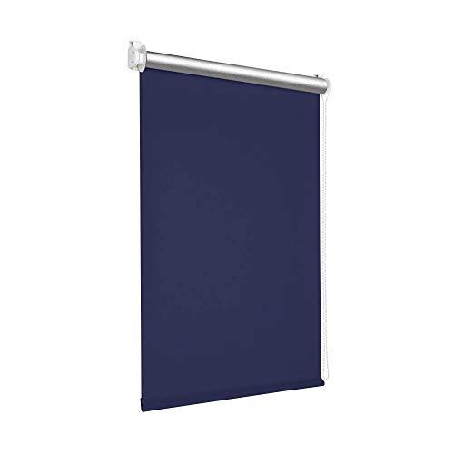 Victoria M. Tenebra Verdunkelungsrollo Thermorollo Rollo ohne Bohren für Fenster und Türen, 40 x 160 cm, dunkelblau