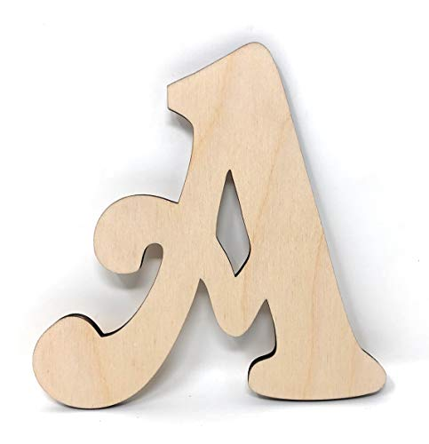 Gocutouts 12' Wooden Letter A Unfinished 1/4' Wooden Letters Paint Ready Unfinished Wall Decor Craft Cutout (12' - 1/4' Thick, A)