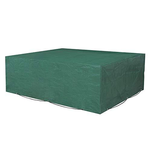 SONGMICS Schutzhülle für Gartenmöbel, 242 x 162 x 100 cm, Abdeckeplane für Tisch und Stühle, Outdoor, wasserdicht, rechteckig, grün GFC96L