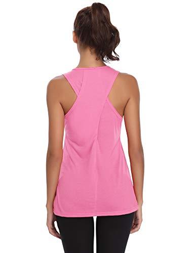 Aibrou Camiseta Mujer Deporte Sin Mangas para Yoga Fitness y Deportes