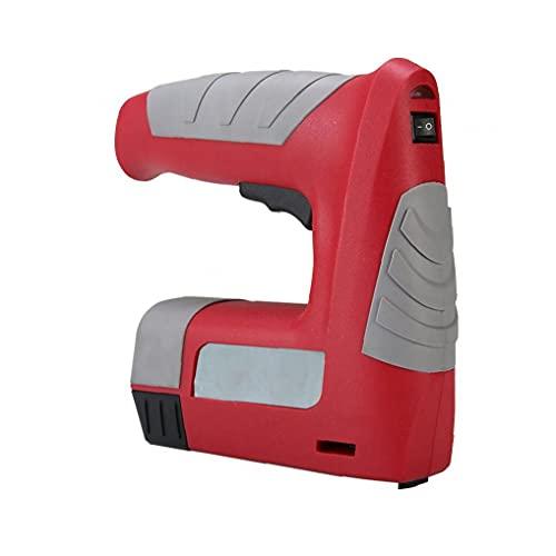 Herramienta de grapas inalámbricas, grapadora de corriente 4.2V / clavadora, grapadora eléctrica con cargador USB recargable, rojo